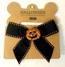 MUD PIE Halloween Dog Collar Accessories: PUMPKIN BLACK BOW