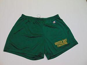 VTG 90s Champion Men L/XL Mesh Gym Shorts Green Bay Packers NFL Football