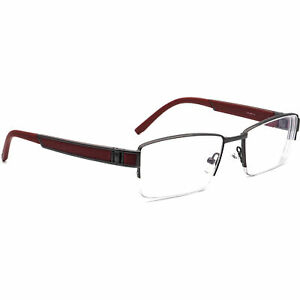 OGA Eyeglasses 6896O GR030 Gunmetal/Red Half Rim Frame France 54[]18 140