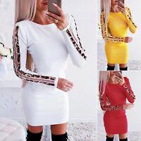Damen Bodycon Kleid Minikleid Leopard Pullikleid Strickkleid Party Kleid Longtop