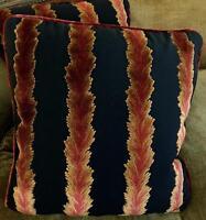 High End Velvet Fabric Custom Designer Throw Pillows Amber Red Black Pair Fiery!