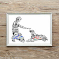 Dad Brother Mans Best Friend Man And Dog Family Love Word A4 Art Print