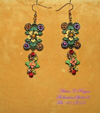 Arturo E.Reyna Petit Enamel Flowers Rhinestone Handcrafted Charms Earrings