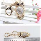 Pretty Owl Keychain Rhinestone Crystal Key Ring Chain Bag Charm Pendant Gift
