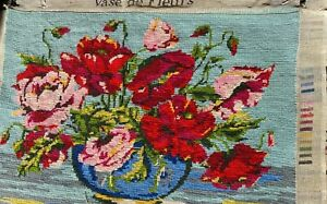 Vintage, French Tapestry WOOL on canvas 'ROSES' theme bowl and blooms