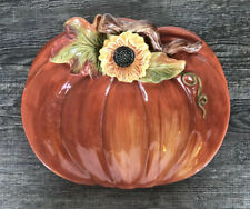 Cracker Barrel Bountiful Harvest Sunflower Pumpkin Plate Thanksgiving Halloween