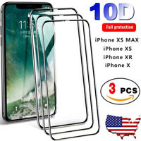 10D Curved Tempered Glass Screen Protector Guard For iPhone X XS Max XR [3-Pack]