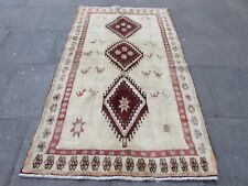 Old Hand Made Traditional Persian Rug Oriental Rug Wool Cream Rug 217x127cm