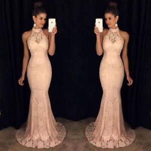 Brautjungfern Mermaid Neckholder Kleid Abendkleid Spitze Rosa Ballkleid BC661