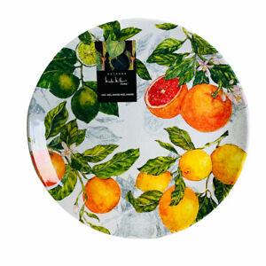 Nicole Miller Citrus Lemons Oranges Limes Melamine Dinner Plates Set of 4