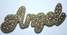 ANGEL AND STUDS BROWN Embroidered Sew Iron On Cloth Patch Badge APPLIQUE