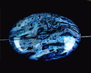 H24617 25x18x7mm Blue Crazy Lace Agate Oval Pendant Bead
