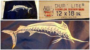 "Vintage Dura Lite Blue Shark Boat Pennant Nylon Flag 12"" x 18"" Yacht Fishing"