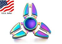 Rainbow Color Fidget Hand Rainbow Spinner Toy Metallic Alloy  ADHD Autism