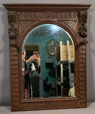 Antique 19thC Victorian Era Carved Wood Old Salvaged Built In Hall Tree Mirror
