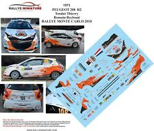 Decals 1/43 ref 1573 Peugeot 208 R2 Tondut Rallye Monte Carlo 2018 Rally