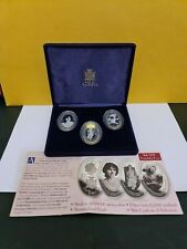More details for zambia coins set of 3 hm the queen mother silver 2000 picture coins.