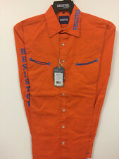 NWT Resistol Logo Rodeo Western Embroidered Long Orange.(SMALL) Shirt