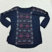 Lucky Brand Top S Blue Embroidered Top Aztec Tribal 3/4 Sleeve Navy Womens