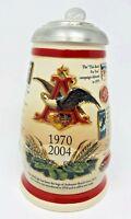Anheuser-Busch Budweiser Marketing Milestones Rare Lidded Stein 1970-2004 CS618
