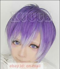 Anime Diabolik Lovers Kanato Sakamaki Purple mixed Cosplay Short wig+wig cap