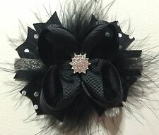 Black And Silver Christmas Stacked Boutique Hair Bows