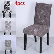 4pcs Dining Chair Seat Covers Slip Cover Stretch Wedding Banquet Party Removable