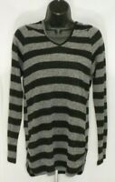 Ultra Teeze Womens Hoodie Top Large Gray Black Light Knit Striped Pullover Vneck