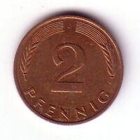 2 Pfennig Münze 1961 - J, Bundesrepublik Deutschland, Mark-Währung, TOP, selten
