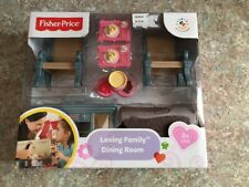 NEW Fisher Price Loving Family Dining Room NIP table chairs Buffet Dollhouse