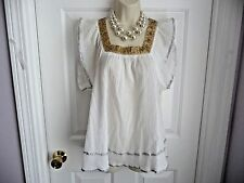 Mystree Anthropologie S Swing Top Blouse White Rayon Gold Beaded w/ Silver Trim