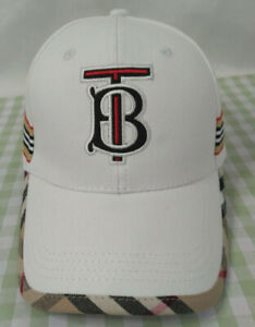 NWT Burberry TB Baseball Hat White Golf Outdoor Cap Unisex