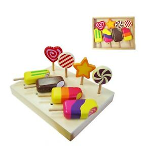 NEW Fun Factory Wooden Lollipops Ice Blocks Icy Poles Pretend Play Kitchen Food