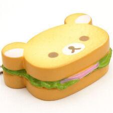 Cartoon Squishy orso Hamburger cinghia cellulare PANE MORBIDO PORTACHIAVI 1PZ