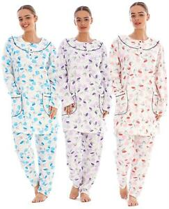 Ladies Pyjama Set Floral Long Sleeve Button Pockets Thermal Warm Soft Loungewear