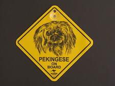 Pekingese On Board Dog Breed Yellow Car Swing Sign Gift