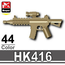 Dark Tan SK416 (W64) Assault Rifle compatible with toy brick minifigures M4 Army