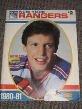 Vintage 1980/1981 New York Rangers Hockey Program Hartford Whalers NHL Nilsson