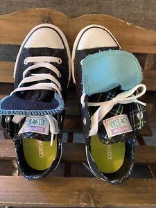 Converse All Star Kids Shoes size 3 Black/Aqua Plaid Trim