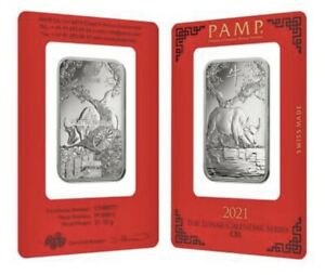 2021 - 1 Oz PAMP Suisse Year Of The Ox Platinum Bar (In Assay) .9995