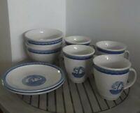 Tienshan Folkcraft Stoneware SAIL AWAY 2 Salad Plates, 2 Bowls, 4 Mugs Nautical