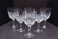 SET 6 Stuart Clifton Park Crystal Water Goblets Glasses wine Thumbprint Vertical