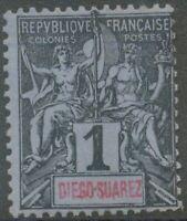 """DIEGO-SUAREZ 1894 Allegorie 1 C ungebraucht o.G, ABART: """"DIE6O-SUAREZ"""" statt"""