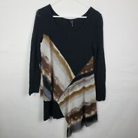 Stella Carakasi Womens Top M Black Long SLeeve Scoop Neck Lagenlook Asymmetrical