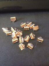 Rose Gold Necklace Ribbon Leather end Cord end 8mm End Crimp 20 Pack Aus seller