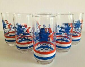 "Vintage Set Of 6 Los Angeles 1984 Olympics Glass Tumblers 5 5/8"" Tall"