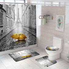 Eiffel Bathroom Rug Set Shower Curtain Non Slip Toilet Lid Cover Bath Mat