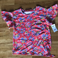 Girls Sz 7 Oshkosh Floral Pink Ruffle Top Shirt EUC NWT