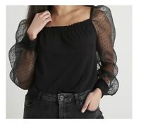 Women's / ladies TU organza black sleeve top blouse size 26 new with tags