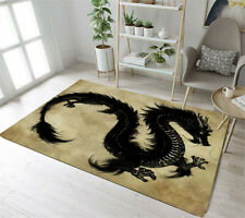 Vintage Background Black Dragon Pattern Area Rugs Bedroom Living Room Floor Mat